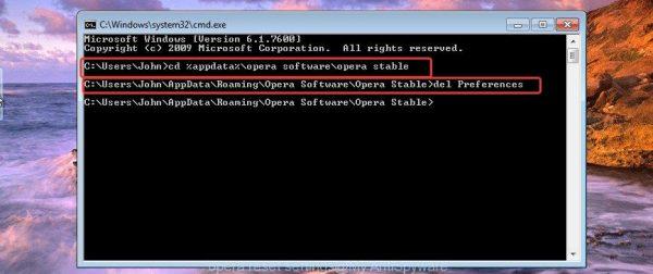 Вводим в командной строке cd %AppData%Opera Software/Opera Stable, нажимаем Enter, затем прописываем del Preferences, нажимаем Enter