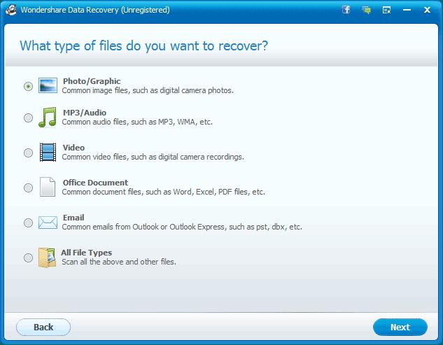 Выбираем тип файлов которые нужно восстановить