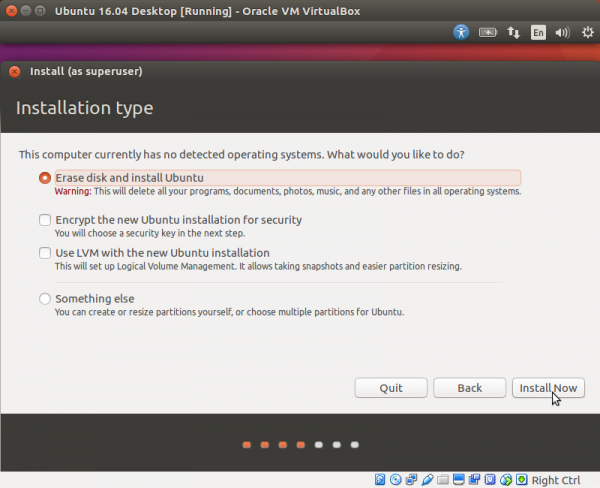 Выбираем в следующем списке «Erase disk and install Ubuntu» и жмем на кнопку «Install Now»