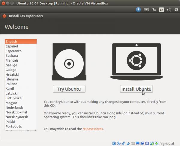 Выбираем язык и кликаем по кнопке «Install Ubuntu»