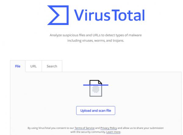 Заходим на сайтVirusTotal