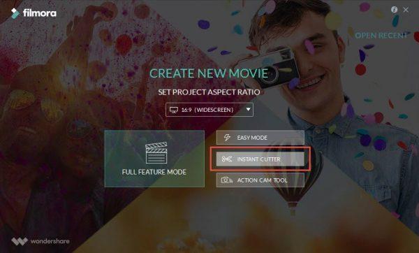 Запускаем Filmora и выбираем «Instant Cutter»