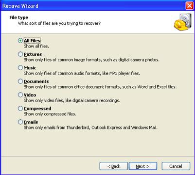 Запускаем программное обеспечение и выбираем тип восстановления файла