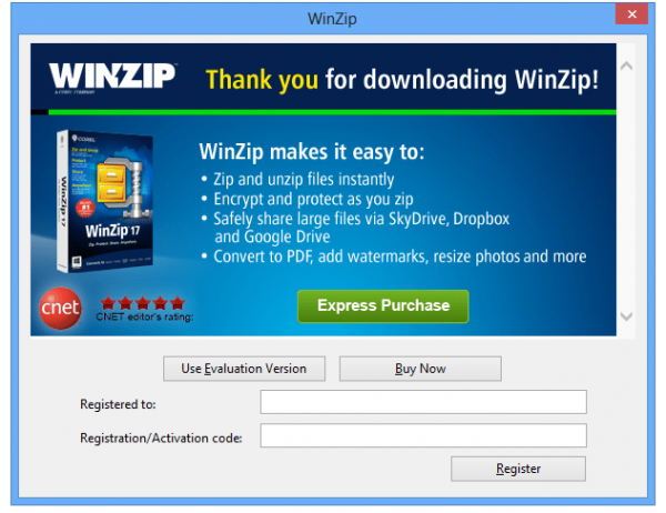 Запускаем программу WinZip