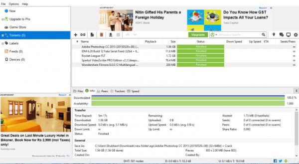 uTorrent до применения трюка по удалению рекламных объявлений