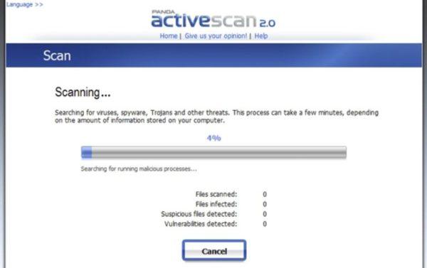 Бесплатный сервис Panda ActiveScan