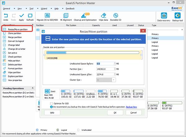 Для сжатия диска выбираем опцию «Resize/Move partition»