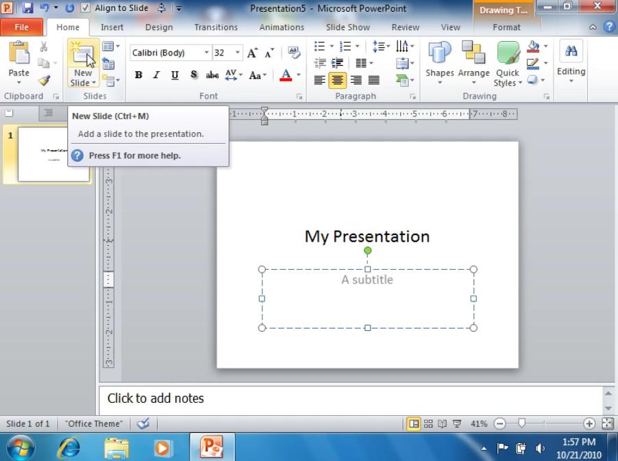 Добавляем новый слайд