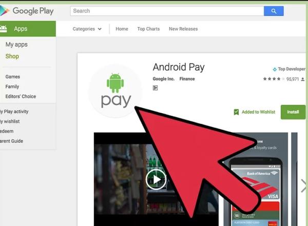 Если Android Pay нет на мобильном, бесплатно загружаем его из Google Play Store