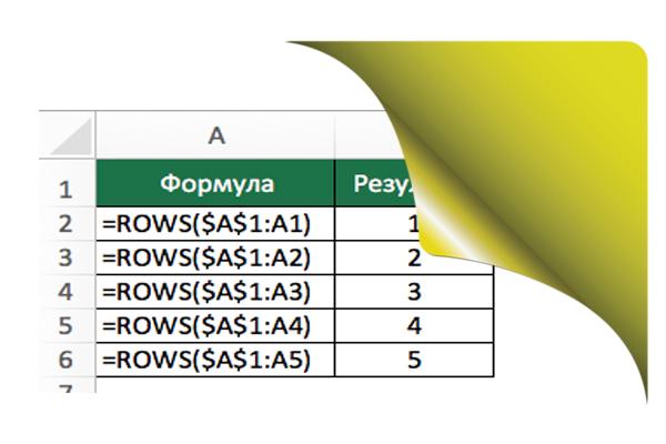 Функция ROWS (ЧСТРОК)
