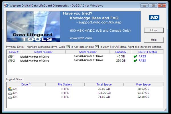 Интерфейс программы Data Lifeguard Diagnostics