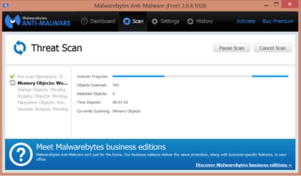 Интерфейс программы MalwareBytes Anti-Malware Free