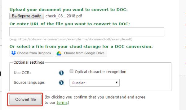 Кликаем на кнопку «Convert file»