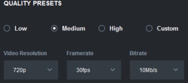 Меняем параметры качества видео в пункте «Quality Presets»