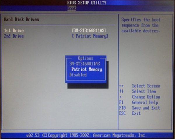 Меняем пункт «1st Drive» на USB-устройство