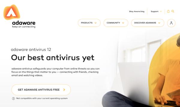 На официальном сайте нажимаем «Get Adaware Antivirus Free»