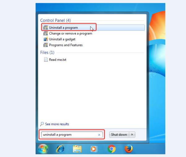 Нажимаем «Пуск», в окне «Поиск программ и файлов» вводим «Удалить программу» и нажимаем на соответствующий результат