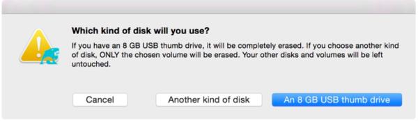 Нажимаем кнопку «An 8 GB USB thumb drive»