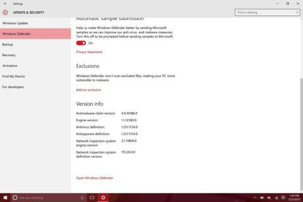 Нажимаем на ссылку «Open Windows Defender»