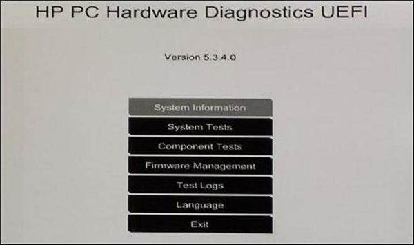 Окно, вызванное функцией «F2 System Diagnostics»