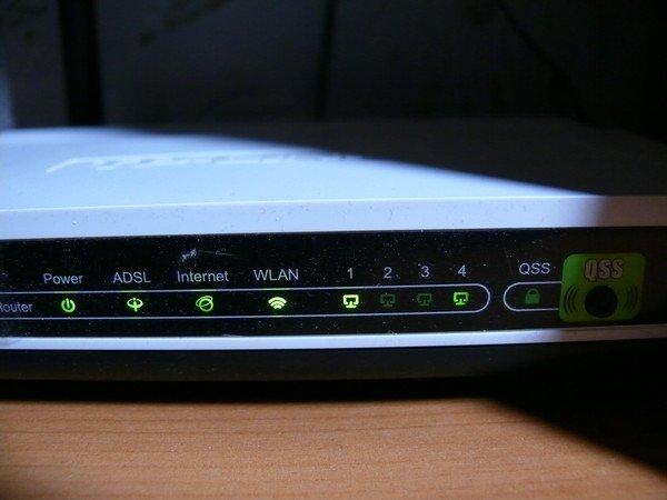 Ожидаем пока на панели сетевого устройства загорится ADSL индикатор