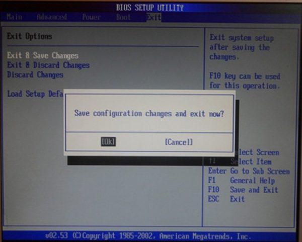 Переходим на вкладку «Exit», выбираем пункт «Exit & Save Changes», нажимаем Enter, затем «ОК»