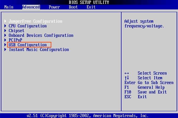 Переходим во вкладку «Advanced», выбираем пункт «USB Configuration»