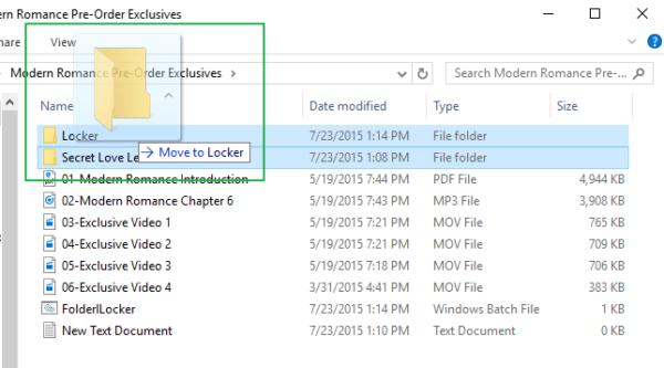 Перетаскиваем файлы, которые хотим спрятать в папку «Locker»
