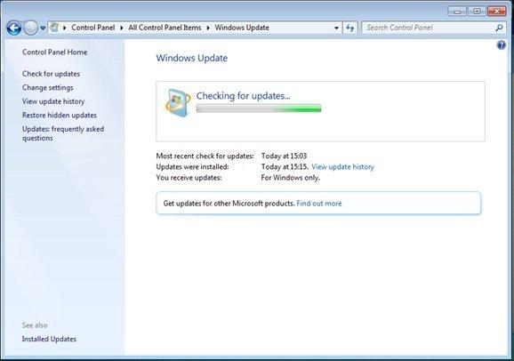 Поиск обновлений «Windows update»