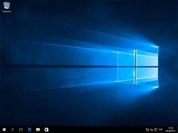 После установки открывается рабочий стол Windows 10