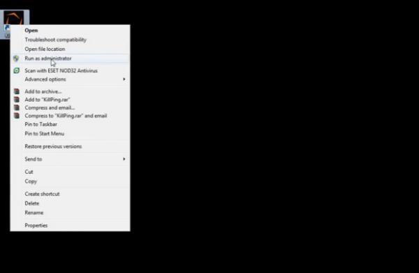 Правой кнопкой мыши кликаем на ярлык «Kill Ping», выбираем «Запустить от имени администратора»