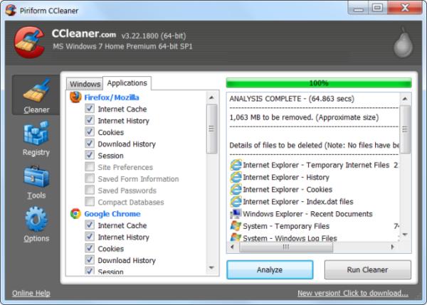 Удаляем временные файлы с помощью программы CCleaner