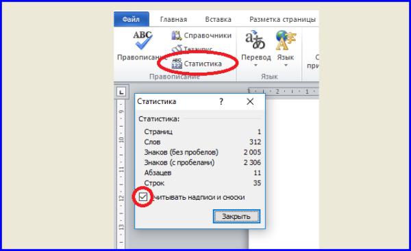 Устанавливаем параметр «Считывать надписи и сноски» в пункте меню «Статистика», открыв вкладку «Рецензирование»