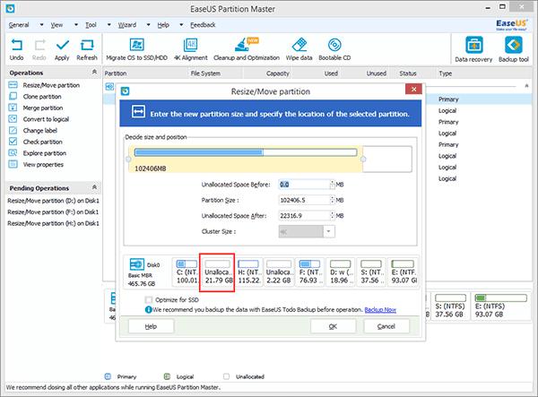 Увеличиваем пространство на диске C с помощью опции «Resize/Move partition»