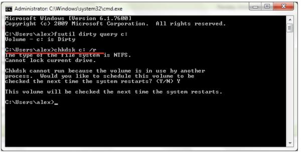 В открывшемся окне консоли вводим команду chkdsk/f, нажимаем Enter