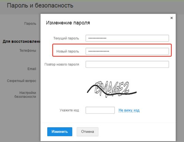 В строку «Новый пароль» пишем придуманный пароль, который ранее не использовался