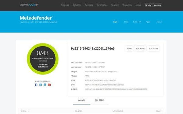 Веб-сайт Metadefender