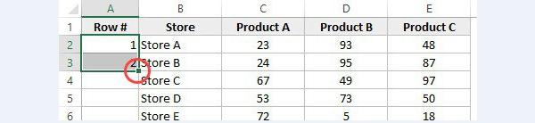 Вводим 1 в ячейку A2 и 2 в ячейке A3 и выделяем обе ячейки (A2 и A3)