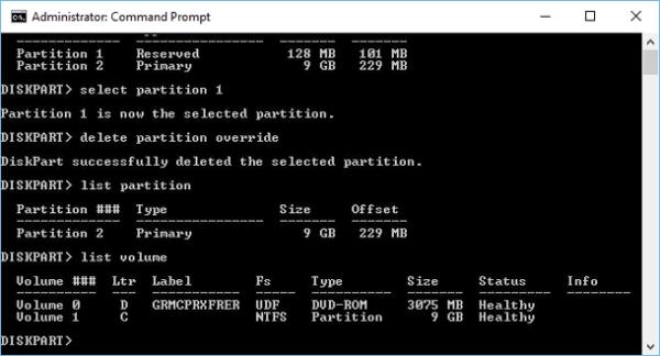 Вводим list partition и нажимаем Enter
