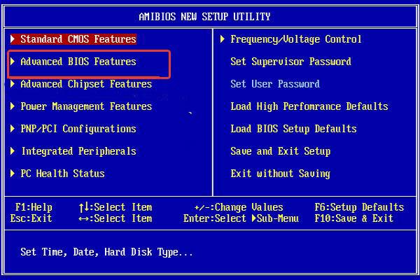 Выбираем «Advanced BIOS Features»