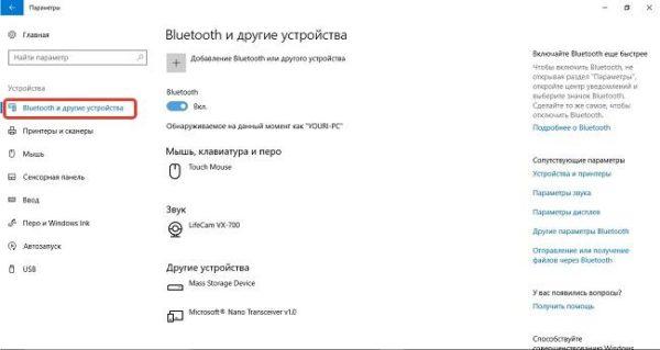 Выбираем «Bluetooth и другие устройства»