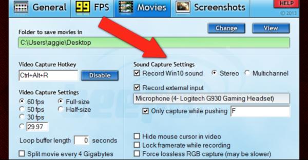 Выбираем «fps» и параметры звука для нашего видео