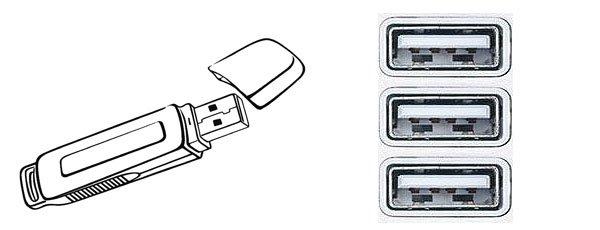 Выбираем панель для подключения USB флешки