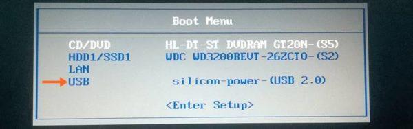 Заходим в Boot Menu, выбираем USB, нажимаем Enter