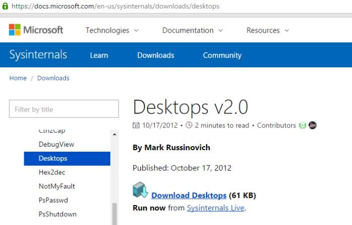 Для создания виртуальных рабочих столов на Виндовс 7 используется программное обеспечение Desktops v2.0