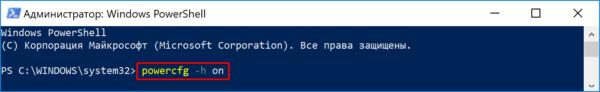 Для включения гибернации вставляем команду «powercfg.exe -hibernate on», нажимаем «Enter»