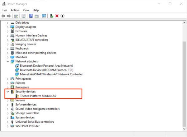 Двойным кликом мыши открываем параметр «Устройства безопасности», видим ТРМ доверенный платформенный модуль с номером версии