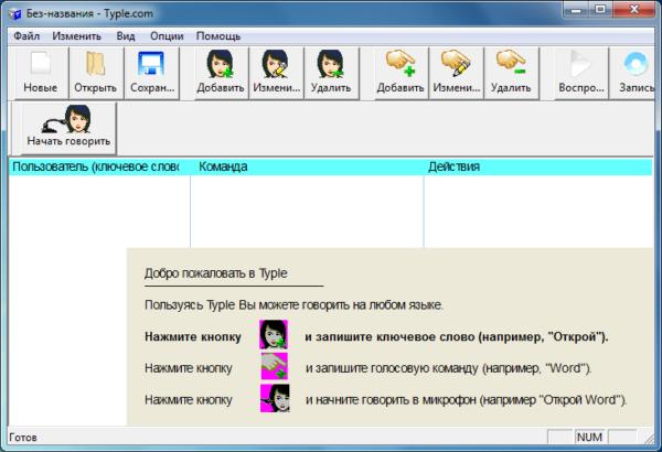 Интерфейс программы Typle