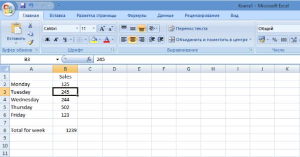Изменив цифру, например, в ячейке B3, сумма автоматически изменится