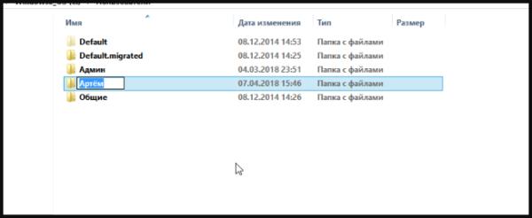Кликаем левой кнопкой мыши по пользовательской папке, меняем название папки, нажимаем «Enter»